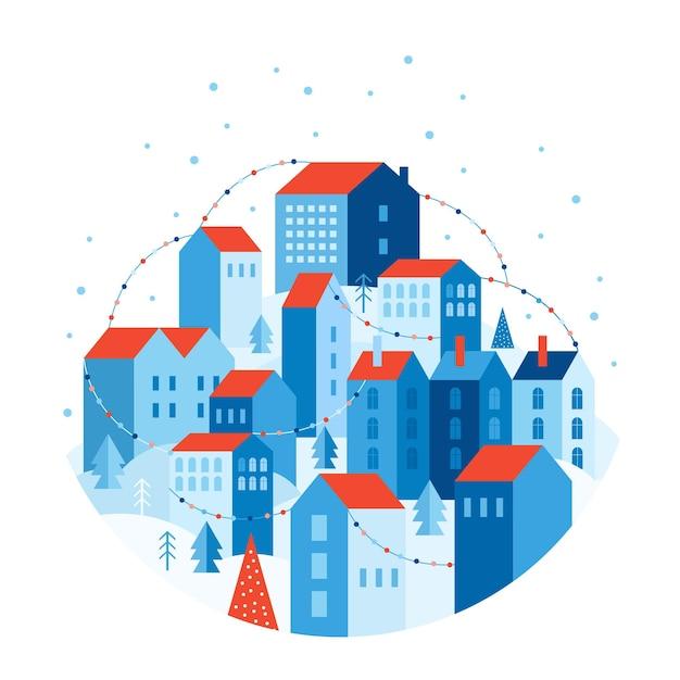 幾何学的なスタイルの冬の都市景観。お祝いの雪の街は色とりどりの花輪で飾られています。木々や雪の吹きだまりに囲まれた丘の上の家 Premiumベクター