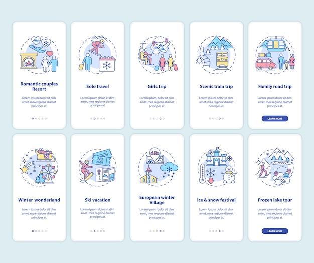 冬の休暇のアイデアとコンセプトが設定されたモバイルアプリのページ画面をオンボーディングする場所 Premiumベクター