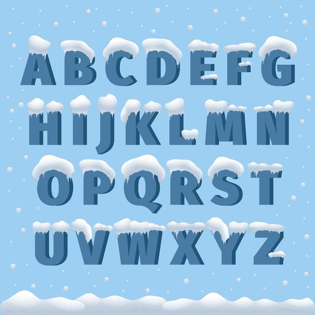 눈 겨울 벡터 알파벳입니다. 문자 abc, 얼음 차가운 글꼴, 계절 서리 글꼴, 타이포그래피 또는 조판. 겨울 알파벳 벡터 일러스트 레이 션 무료 벡터