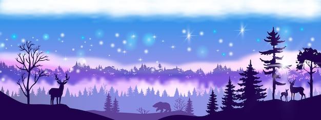 森の輪郭と冬のベクトルクリスマスの風景 Premiumベクター