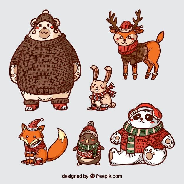 Winter vintage animals collection