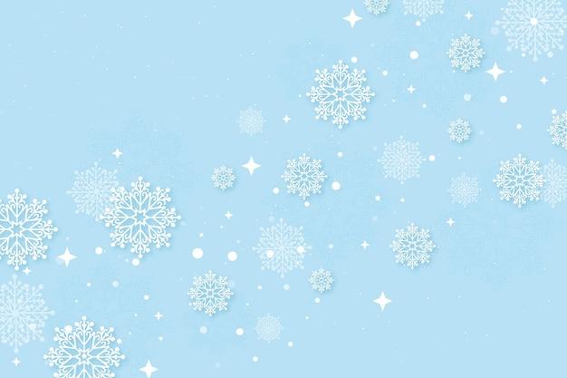 Зимние обои в бумажном стиле со снежинками Premium векторы