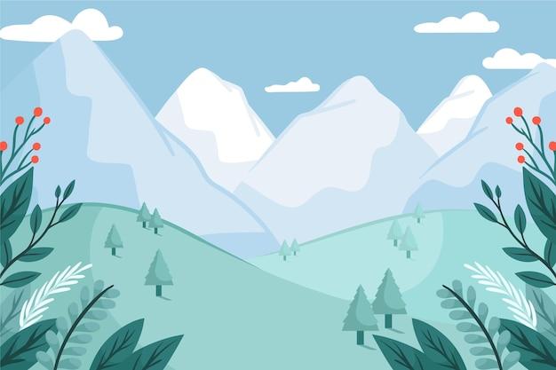 手描きの風景と冬の壁紙 無料ベクター