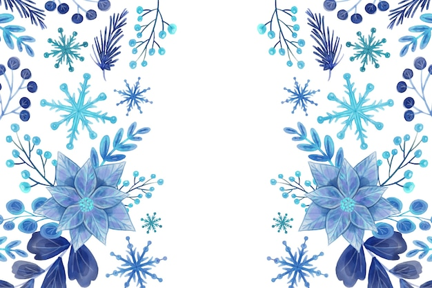 Winter watercolor background Free Vector