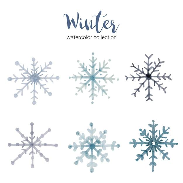시원한 겨울 수채화를 상징하는 지사와 함께 겨울 수채화 컬렉션. 무료 벡터