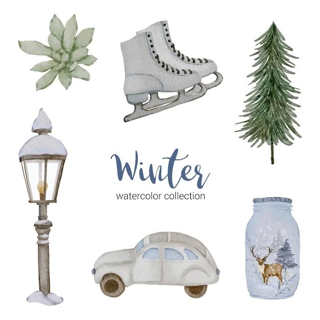 가정용 항목이있는 겨울 수채화 컬렉션. 무료 벡터