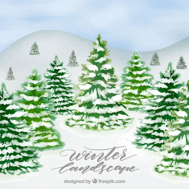 Winter watercolour background with a forest
