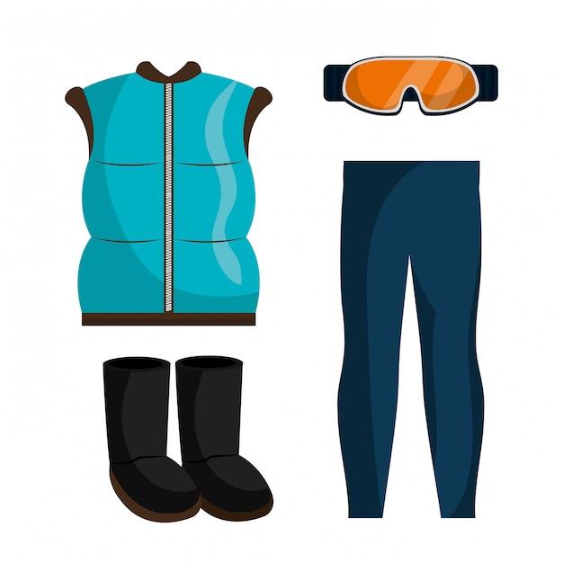 Abbigliamento invernale, abiti e accessori Vettore gratuito