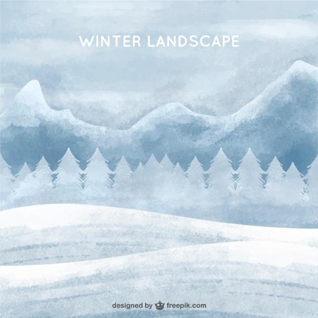 Зимний белый фон акварель пейзаж Бесплатные векторы
