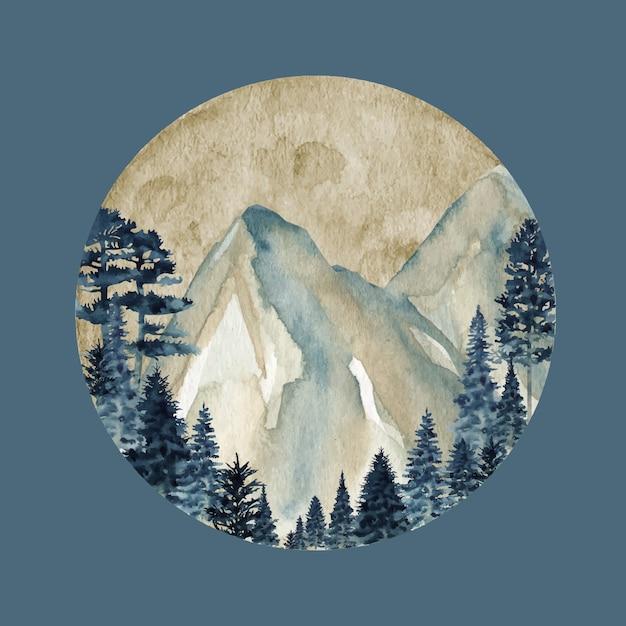 冬の野生の森の山々、水彩画の野生の自然の風景 Premiumベクター