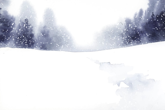 Winter wonderland landscape painted by watercolor vector Free Vector
