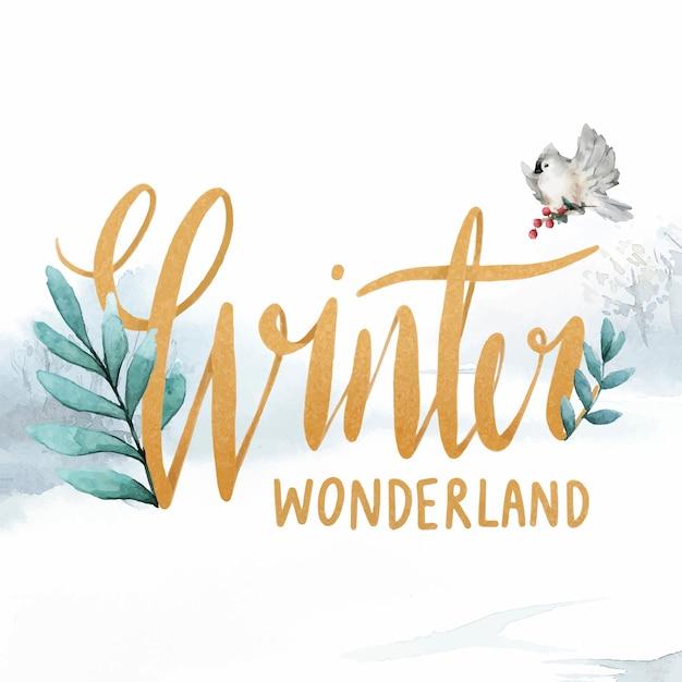 Winter wonderland watercolor typography vector Free Vector