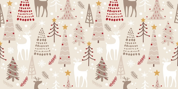 Winter woodland seamless pattern for decoration Premium Vector
