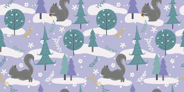 Winter woodland in seamless pattern Premium Vector