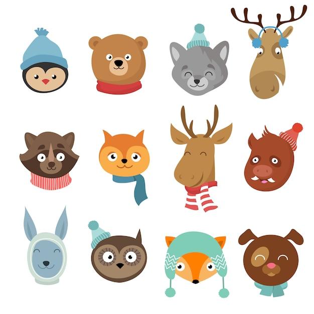 Winter xmas happy animals cartoon characters. animals heads with neckerchief and hats vector set Premium Vector
