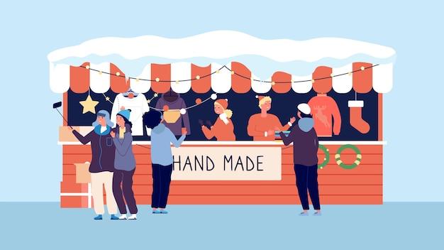 Зимний рождественский рынок. счастливого рождества ручной работы подарки одежда венки. байерс у прилавка векторные иллюстрации Premium векторы