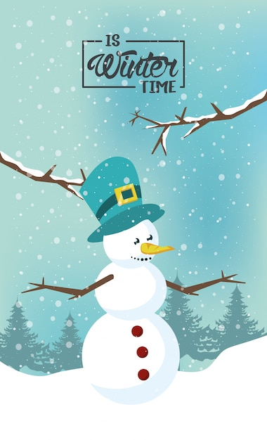 Wintertime with snowman and forest scene Premium Vector