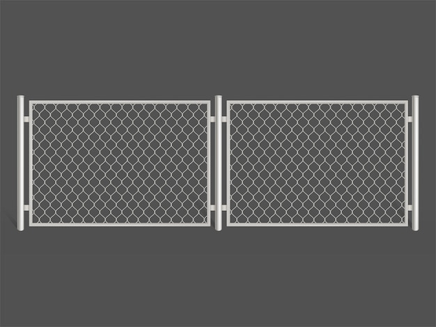 Wire fence isolated on grey background. silver colored metal chain link mesh. Free Vector