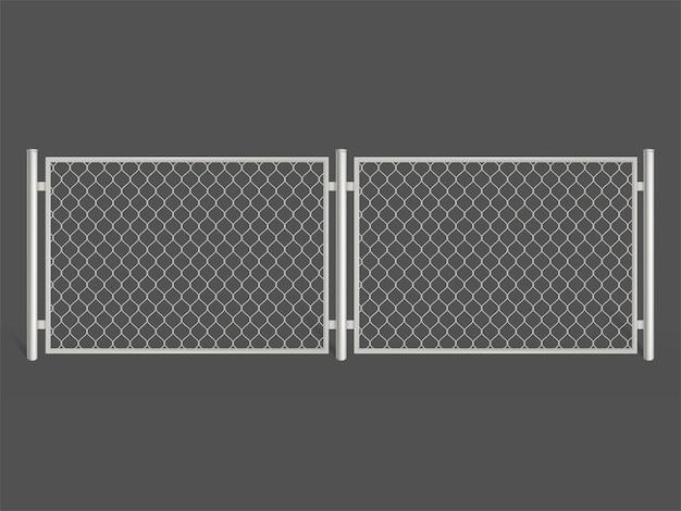 ワイヤーフェンスは、灰色の背景に分離されました。銀色のメタルチェーンリンクメッシュ。 無料ベクター