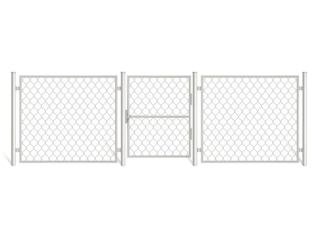 ワイヤーフェンスは、白い背景で隔離。 無料ベクター