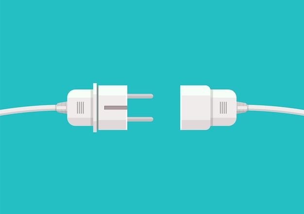 Wire plug and socket Premium Vector