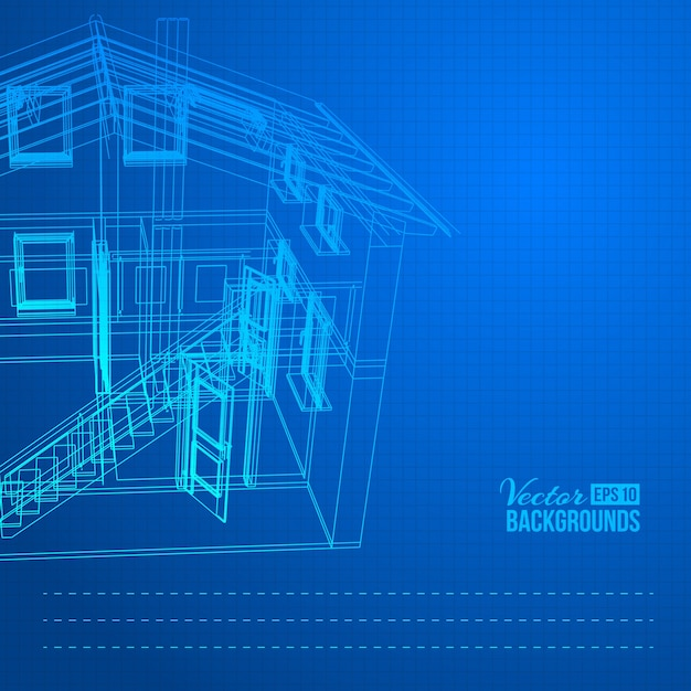 Wireframe of building Free Vector