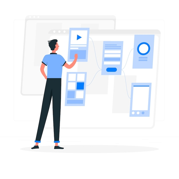 Wireframing concept illustration Free Vector