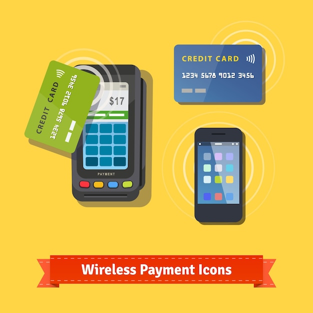 Wireless business payment flat icon set Free Vector