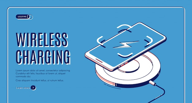 Wireless charging isometric banner Free Vector