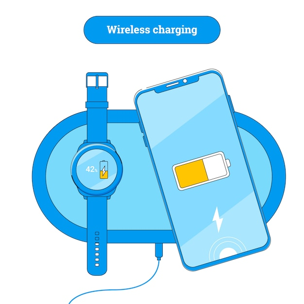Wireless charging pad with mobile phone and smart watch. Premium Vector