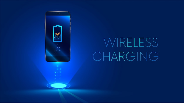 Wireless charging of the smartphone battery. future concept. Premium Vector
