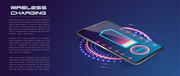 Wireless charging of the smartphone battery Premium Vector