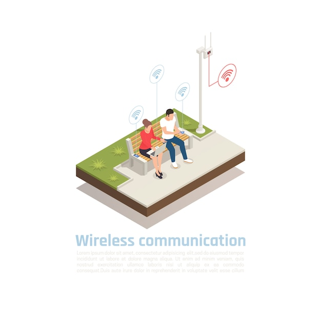 Wireless communication isometric poster with male and female characters sitting in city park cellular antenna and using wifi  signal Free Vector