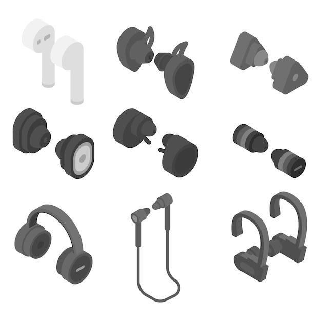 Wireless earbuds icons set, isometric style Premium Vector