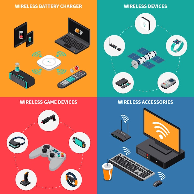 Wireless electronic devices isometric concept Free Vector