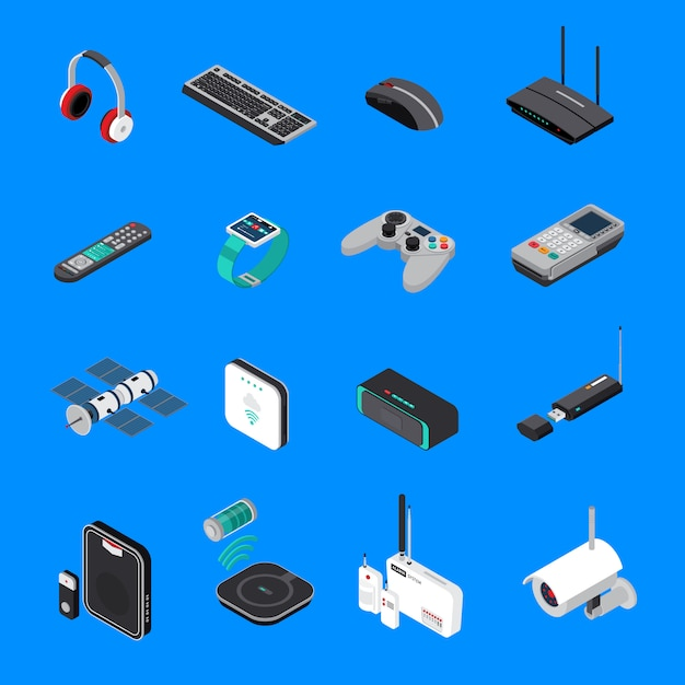 Wireless electronic devices isometric icons Free Vector