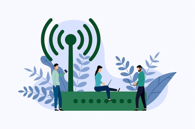 Wireless ethernet modem router with characters, business concept vector illustration Premium Vector