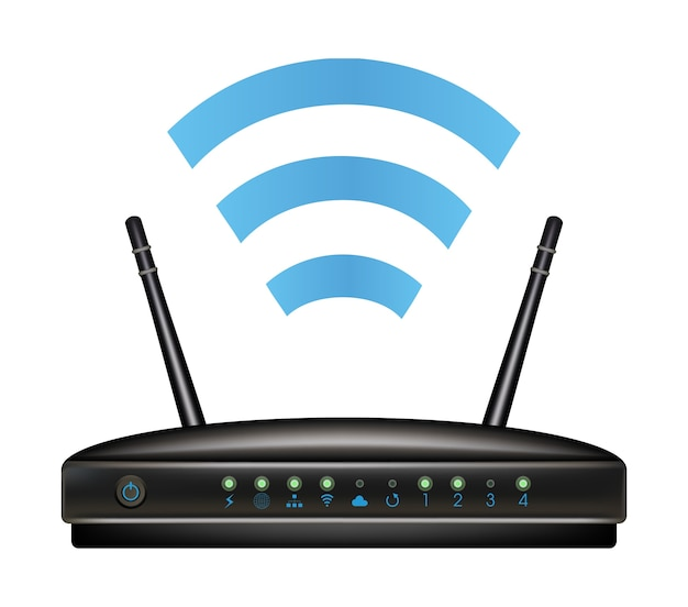 Wireless ethernet modem router Premium Vector
