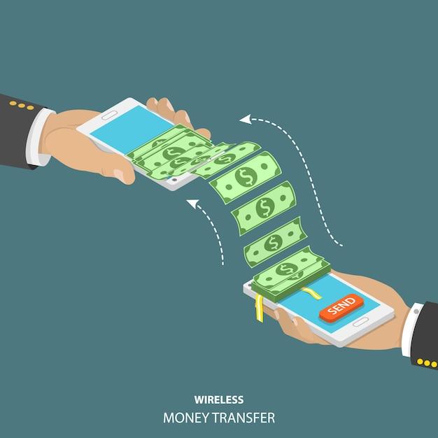 Wireless money transfer isometric vector illustration. Premium Vector