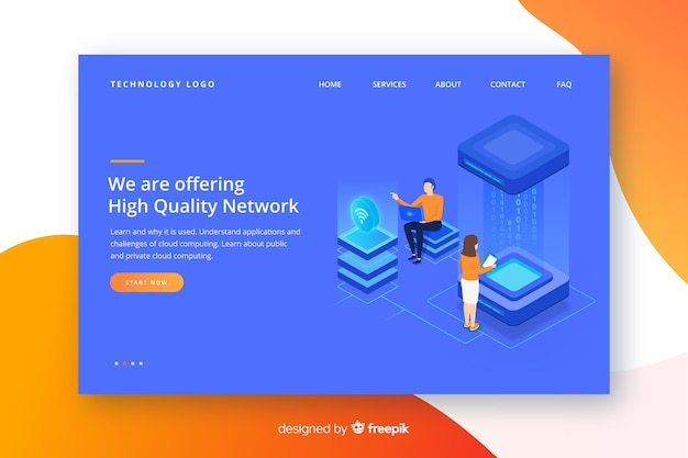 Wireless network landing page template Free Vector