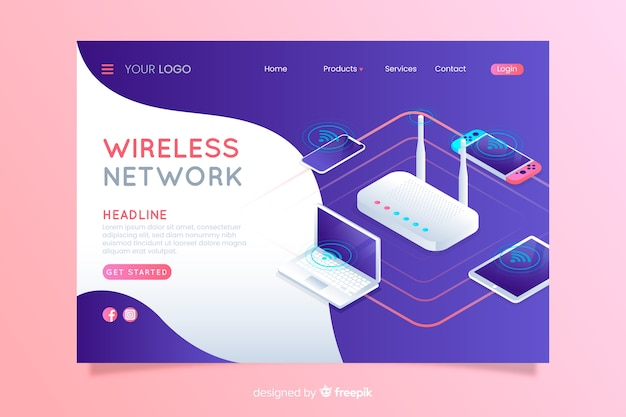 Wireless network landing page Free Vector