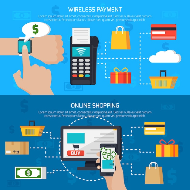 Wireless payment and online shopping banners Free Vector