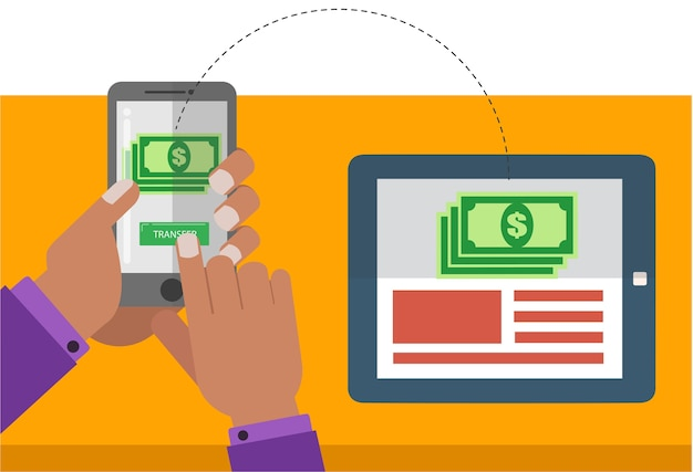 Wireless payment trough mobile phone and tablet computer Premium Vector