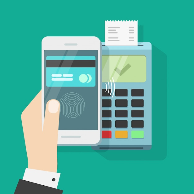 Wireless payment with mobile phone and terminal or smartphone contactless pay Premium Vector