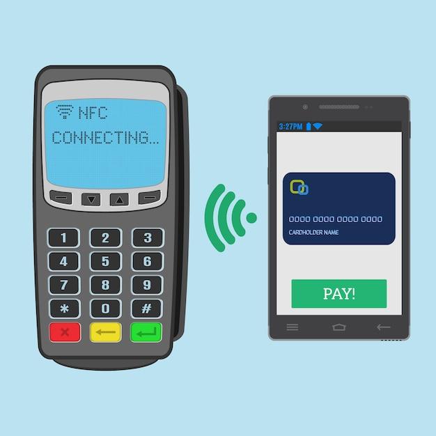 Беспроводная оплата с технологией nfc с использованием смартфона. pos-терминал ожидает подключения к смартфону nfc. Premium векторы