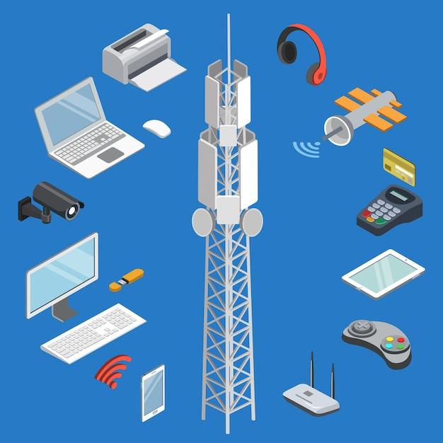 Wireless technologies isometric 3d set Premium Vector
