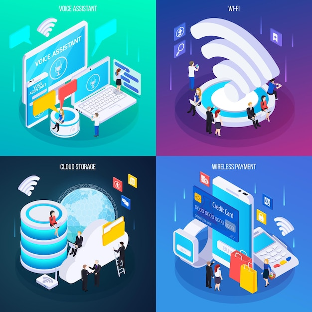 Wireless technology concept 4 glow isometric compositions with cloud storage voice assistant service wireless payment Free Vector
