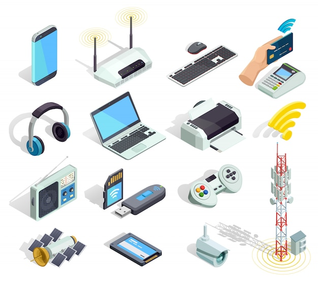 Wireless technology devices isometric icons set Free Vector