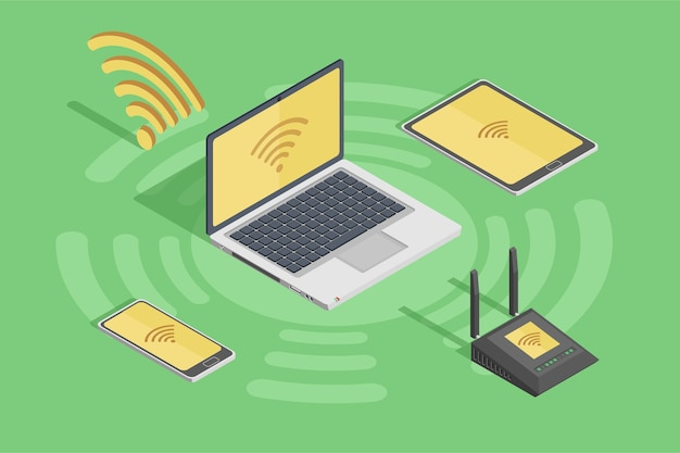 Wireless technology devices style poster with laptop smartphone ...