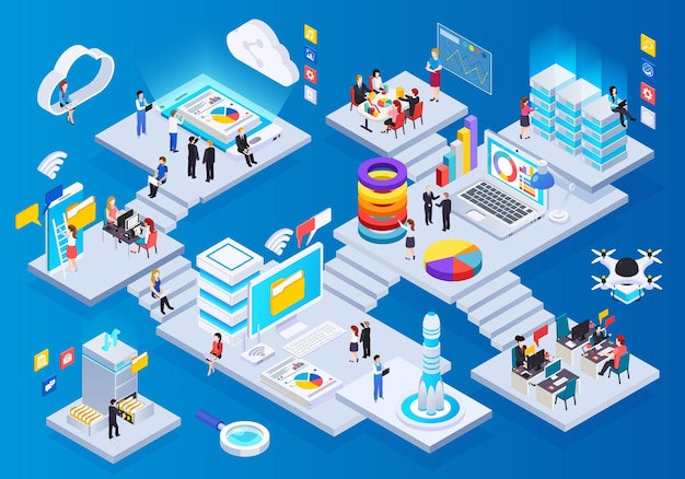 Wireless technology glow isometric composition with cloud big data storage communication teleconference presentation drone delivery Free Vector